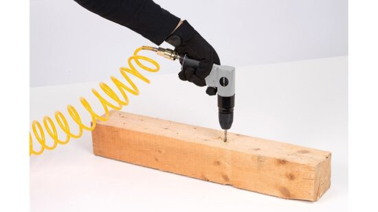 Trykluft boremaskine i kuffert +tilbehør værktøj